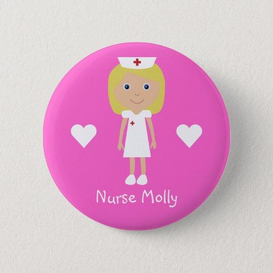 Cute Cartoon Nurse & Hearts Personalised Pink 6 Cm Round Badge