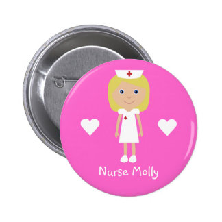 Cute Cartoon Nurse & Hearts Personalised Pink