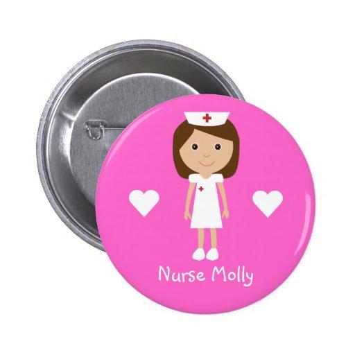 Cute Cartoon Nurse & Hearts Personalized Pink Pin