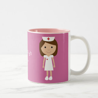 Cute Cartoon Nurse Personalized Pink Two-Tone Coffee Mug