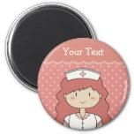 Cute cartoon nurse (redhead) magnets