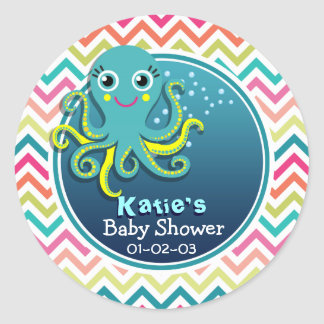 Cute Cartoon Octopus; Colorful Chevron Baby Shower Round Stickers