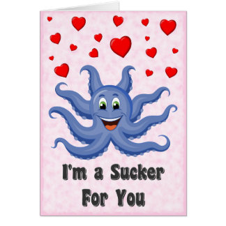 Cute Cartoon Octopus Hearts Funny Valentines Day Greeting Card