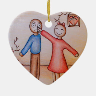 Cute Cartoon of Girl Picking Boys Nose Christmas Ornament