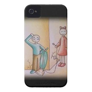 Cute Cartoon of Girl Teasing Boy with Vacuum iPhone 4 Covers