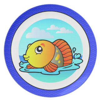 Cute Cartoon Orange and Yellow Fish Plate