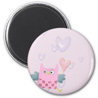 Cute Cartoon Owl and hearts Fridge Magnets