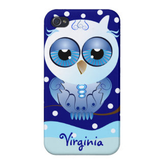 Cute cartoon Owl and polka dots Snow iPhone 4/4S Cover