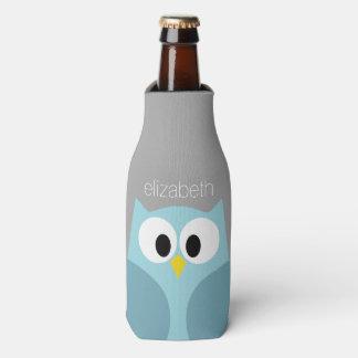 Cute Cartoon Owl - Blue and Gray Custom Name Bottle Cooler