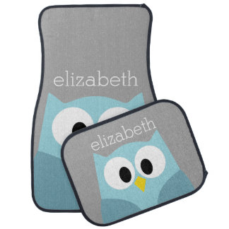Cute Cartoon Owl - Blue and Gray Custom Name Car Mat