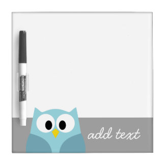 Cute Cartoon Owl - Blue and Gray Custom Name Dry Erase Whiteboards
