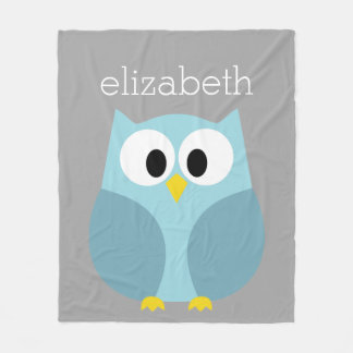 Cute Cartoon Owl - Blue and Gray Custom Name Fleece Blanket