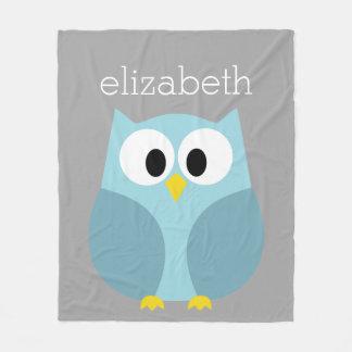 Cute Cartoon Owl - Blue and Gray Custom Name Fleece Blanket