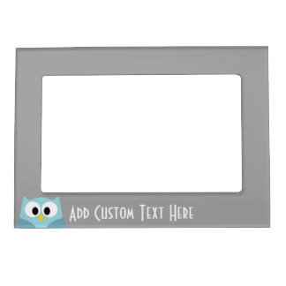 Cute Cartoon Owl - Blue and Gray Custom Name Magnetic Photo Frame