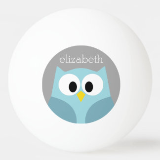Cute Cartoon Owl - Blue and Gray Custom Name Ping Pong Ball