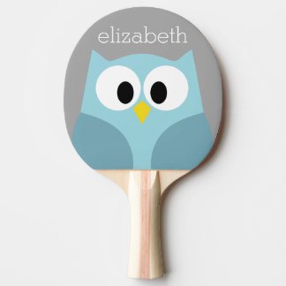 Cute Cartoon Owl - Blue and Gray Custom Name Ping Pong Paddle