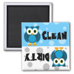 Cute Cartoon Owl Clean / Dirty Dishwasher Magnet
