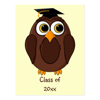 Cute Cartoon Owl Graduate with Mortar Board Hat Postcard