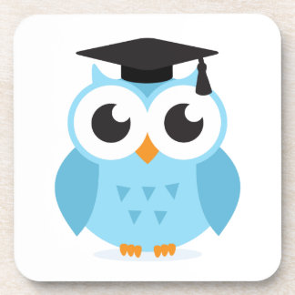 Cute cartoon owl graduate with mortarboard drink coasters