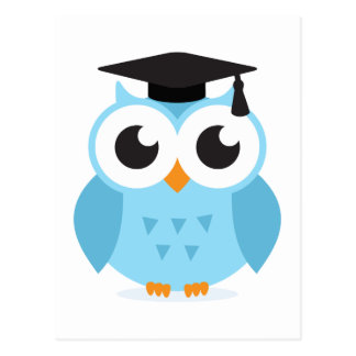 Cute cartoon owl graduate with mortarboard postcard