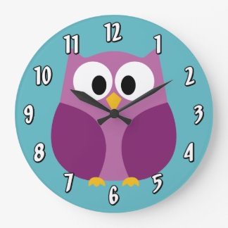 Cute Cartoon Owl in bright colors Wall Clock