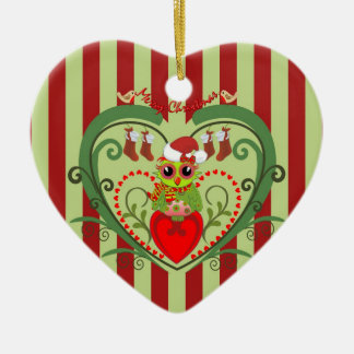 Cute Cartoon Owl in Heart Christmas ornament
