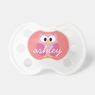 Cute Cartoon Owl in Pink and Coral Baby Pacifier