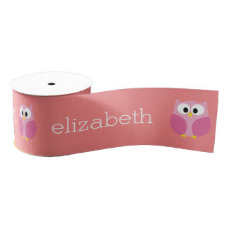 Cute Cartoon Owl in Pink and Coral Grosgrain Ribbon