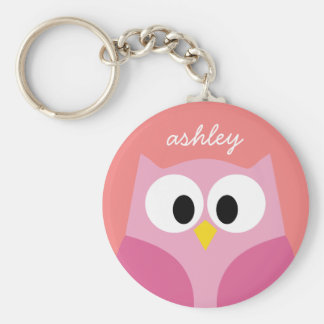 Cute Cartoon Owl in Pink and Coral Key Ring