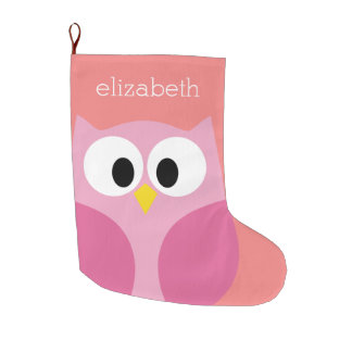 Cute Cartoon Owl in Pink and Coral Large Christmas Stocking