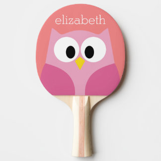 Cute Cartoon Owl in Pink and Coral Ping Pong Paddle