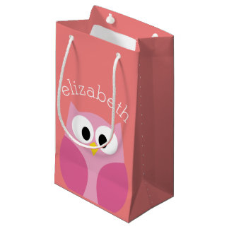 Cute Cartoon Owl in Pink and Coral Small Gift Bag