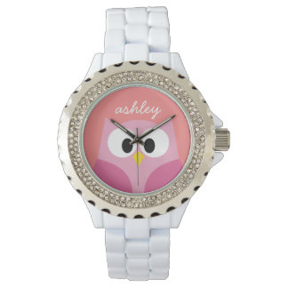 Cute Cartoon Owl in Pink and Coral Watches