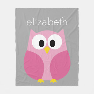 Cute Cartoon Owl - Pink and Gray Custom Name Fleece Blanket