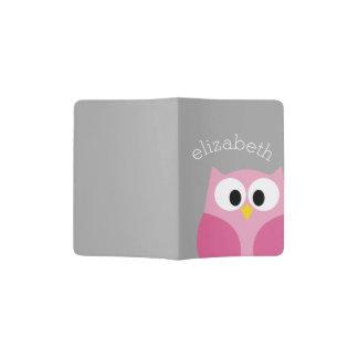 Cute Cartoon Owl - Pink and Gray Custom Name Passport Holder