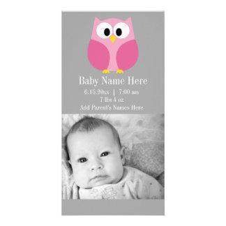Cute Cartoon Owl - Pink and Gray Custom Name Photo Card Template