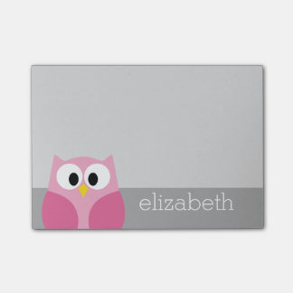 Cute Cartoon Owl - Pink and Gray Custom Name Post-it Notes