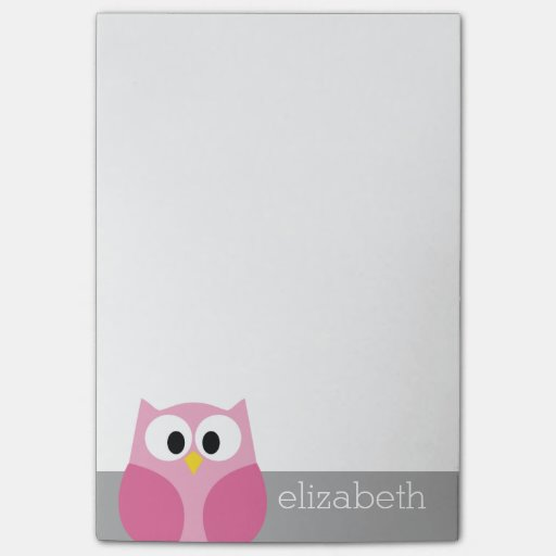 Cute Cartoon Owl - Pink and Gray Custom Name Post-it® Notes