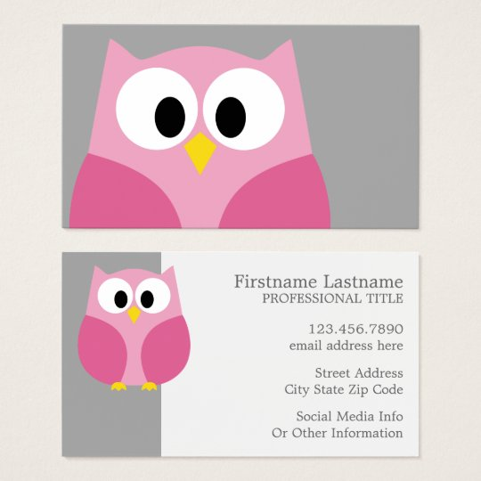 Cute Cartoon Owl - Pink and Grey Custom Name Business Card