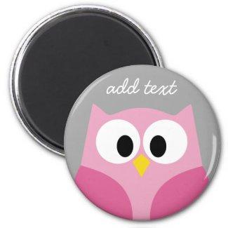 Cute Cartoon Owl - Pink and Grey Custom Name Magnet