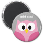 Cute Cartoon Owl - Pink and Grey Custom Name 6 Cm Round Magnet