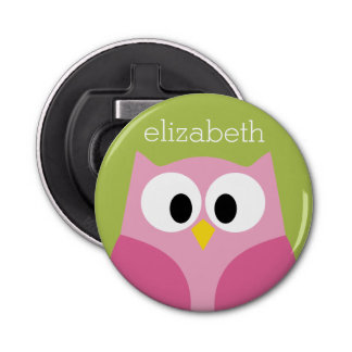 Cute Cartoon Owl - Pink and Lime Green Button Bottle Opener