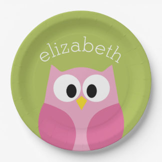 Cute Cartoon Owl - Pink and Lime Green Paper Plate