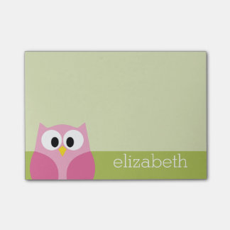 Cute Cartoon Owl - Pink and Lime Green Post-it® Notes