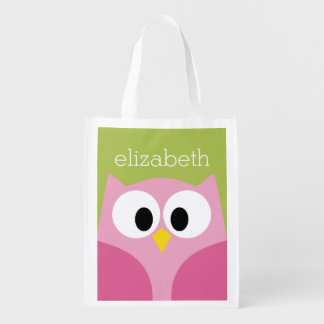 Cute Cartoon Owl - Pink and Lime Green Reusable Grocery Bag