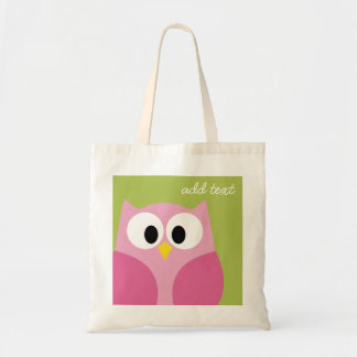 Cute Cartoon Owl - Pink and Lime Green Tote Bags