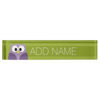 Cute Cartoon Owl Purple and Pistachio Custom Name Desk Nameplates