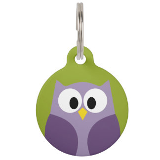 Cute Cartoon Owl Purple and Pistachio Custom Name Pet Name Tag