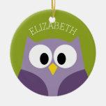 Cute Cartoon Owl Purple and Pistachio Custom Name Round Ceramic Decoration