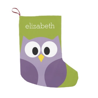 Cute Cartoon Owl Purple and Pistachio Custom Name Small Christmas Stocking